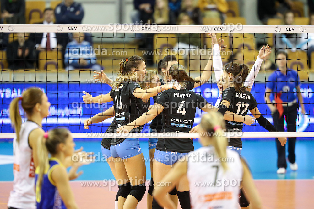 Players of Calcit Ljubljana celebrate during the volleyball match between Calcit Ljubljana and  Liu Jo Nordmeccanica Modena at 2017 CEV Volleyball Champions League, Women, League Round, on November 01, 2016, in Hala Tivoli, Ljubljana, Slovenia.  Photo by Morgan Kristan / Sportida