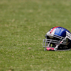 October 10, 2010; Houston, TX USA; A New York Giants helmet belonging to offensive tackle David Diehl (not pictured) is seen on the turf during the first half of a game against the Houston Texans at Reliant Stadium. Mandatory Credit: Derick E. Hingle