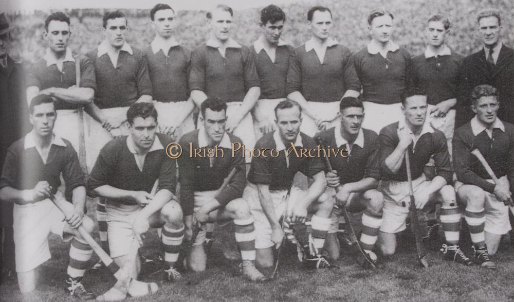 Cork-All-Ireland Hurling Champions 1946. Back Row: A Lotty, J Kelly, C Murphy, G O'Riordan, M O'Riordan, J Lynch, P O'Donovan, T Mulcahy, J Barry. Front Row: C Cotrell, C Murphy, W Murphy, C Ring (capt), P Healy, D J Buckley, J Young.