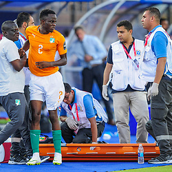 Wonlo Coulibaly of Ivory Coast receives treatment during the 2019 Africa Cup of Nations Finals game between Ivory Coast and South Africa at Al Salam Stadium in Cairo, Egypt on 24 June 2019  <br /> Photo : Icon Sport