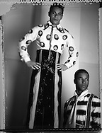 Stilt walkers Chechena Rocha(L) and Elder Olivier pose for a portrait at the Ringling Brothers Barnum and Bailey Circus in New York, April 3, 2007.