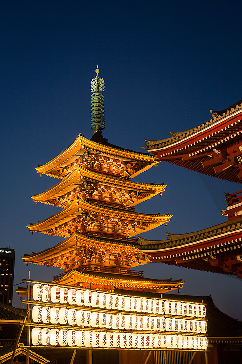 The pagoda at Sensoji Temple is one of the most distinctive feature of this Buddhist temple in the district of Asakusa.