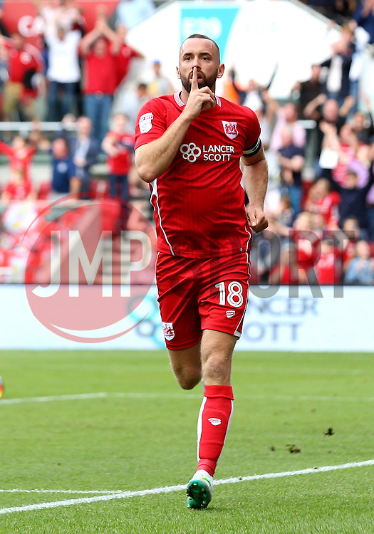 Aaron Wilbraham of Bristol City celebrates scoring a last minute equaliser against Derby County - Mandatory by-line: Robbie Stephenson/JMP - 17/09/2016 - FOOTBALL - Ashton Gate Stadium - Bristol, England - Bristol City v Derby County - Sky Bet Championship