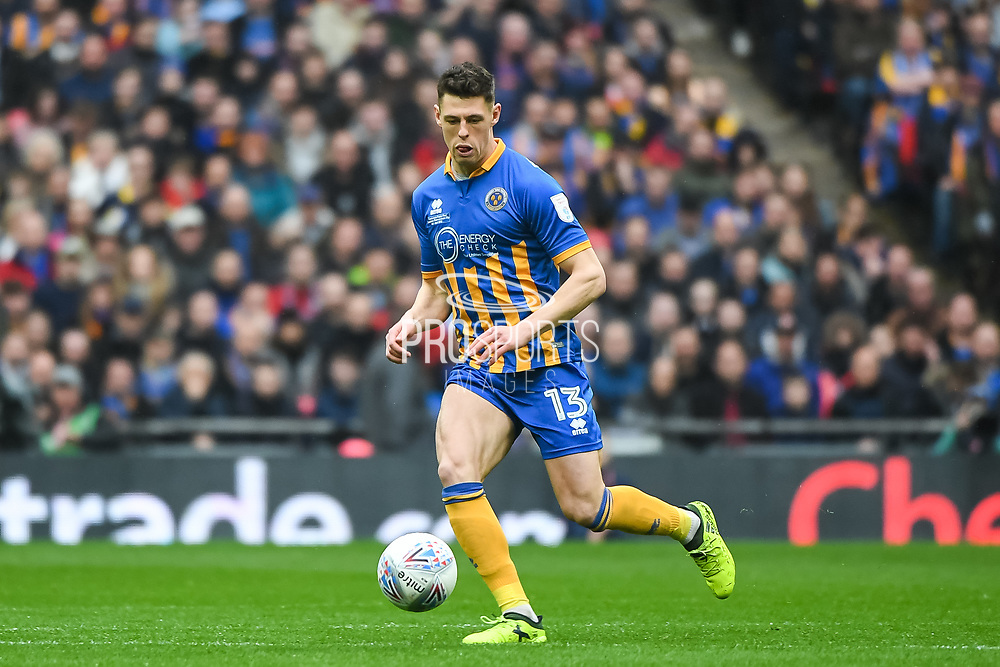 James Bolton of Shrewsbury Town (13) in action during the EFL Trophy Final match between Lincoln City and Shrewsbury Town at Wembley Stadium, London, England on 8 April 2018. Picture by Stephen Wright.