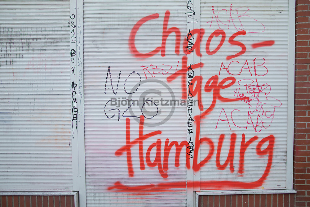 Hamburg, Germany - 08.07.2017<br /> <br /> No G20 protests in Hamburg. <br /> <br /> &quot;Chaostage Hamburg&quot;-Schriftzug am Schulterblatt in Hamburg. Anti G20 Proteste in Hamburg. <br /> <br /> Photo: Bjoern Kietzmann