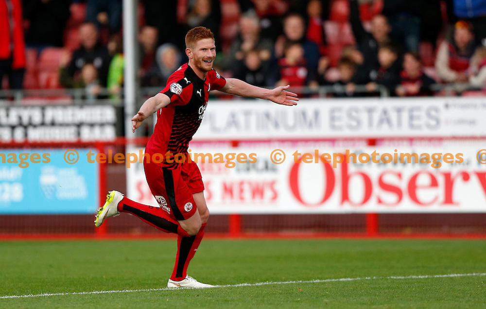 Crawley&rsquo;s Matt Harrold celebrates after scoring during the Sky Bet League 2 match between Crawley Town and Luton Town at the Checkatrade.com Stadium in Crawley. October 17, 2015.<br /> James Boardman / Telephoto Images<br /> +44 7967 642437
