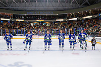 PENTICTON, CANADA - SEPTEMBER 16: Thatcher Demko #35, Curtis Valk #43, Olli Juolevi #48, Yan-Pavel Laplante #74, Troy Stecher #51 line up against the Edmonton Oilers on September 16, 2016 at the South Okanagan Event Centre in Penticton, British Columbia, Canada.  (Photo by Marissa Baecker/Shoot the Breeze)  *** Local Caption ***