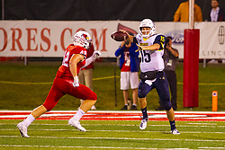 NORMAL, IL - September 21: Dylan Draka hurries up Case Cookus during a college football game between the ISU (Illinois State University) Redbirds and the Northern Arizona University (NAU) Lumberjacks on September 21 2019 at Hancock Stadium in Normal, IL. (Photo by Alan Look)