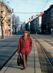 CZECH REPUBLIC BOHEMIA PRAGUE FEB00 -  A man walks towards a tram stop in Prague's Vrsovice district. jre/Photo by Jiri Rezac. . © Jiri Rezac 2000. . Tel:   +44 (0) 7050 110 417. Email: info@jirirezac.com. Web:   www.jirirezac.com