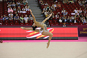 Alina Harnashko, Belarus, during day one of the 33rd European Rhythmic Gymnastics at Papp Laszlo Budapest Sports Arena, Budapest, Hungary on 19 May 2017. Photo by Myriam Cawston.