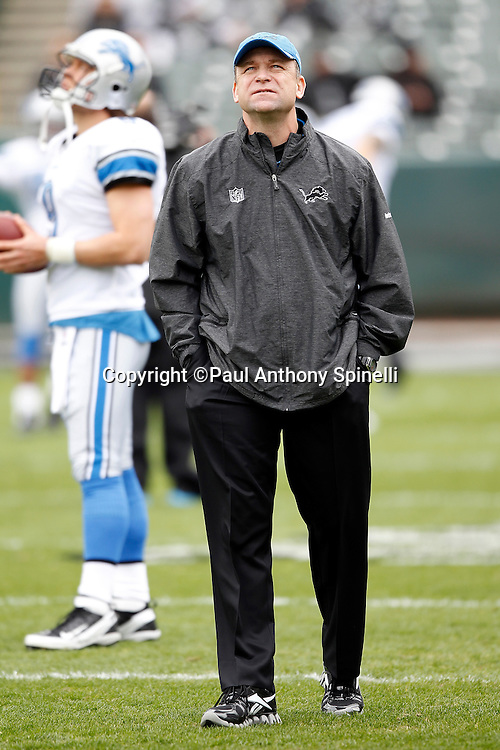 Detroit Lions offensive coordinator Scott Linehan looks on during the NFL week 15 football game against the Oakland Raiders on Sunday, December 18, 2011 in Oakland, California. The Lions won the game 28-27. ©Paul Anthony Spinelli