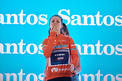 GC winner, Ruth Winder (USA) blows a kiss to the crowd after Stage 4 of 2020 Santos Women's Tour Down Under, a 42.5 km road race in Adelaide, Australia on January 19, 2020. Photo by Sean Robinson/velofocus.com
