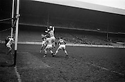 16/02/1964<br /> 02/16/1964<br /> 16 February 1964<br /> Railway Cup Football Semi Final: Munster v Ulster at Croke Park, Dublin. All eyes on the ball as this Munster attack nears the Ulster goalmouth.