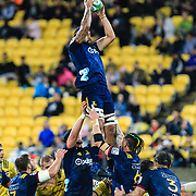 Highlanders line out during the super rugby union  game between Hurricanes  and Highlanders, played at Westpac Stadium, Wellington, New Zealand on 24 March 2018.  Hurricanes won 29-12.