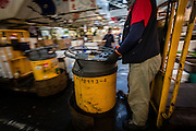 At Tsukiji fish market, you can always count on seeing these yellow carts going through the narrow paths loaded with all sort of things, from fich, to ice, to empty styrofoam boxes.