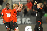 FOOTBALL - FRENCH CHAMPIONSHIP 2009/2010 - L1 - STADE RENNAIS v TOULOUSE FC - 20/03/2010 - PHOTO PASCAL ALLEE / DPPI - JOY AFTER TO WIN THE GAME FOR KADER MANGANE, PETTER HANSSON AND NICOLAS DOUCHEZ (REN)