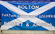 Bolton Wanderers supporters banner. EFL Sky Bet League 1 match between Bolton Wanderers and Rochdale at the University of  Bolton Stadium, Bolton, England on 19 October 2019.