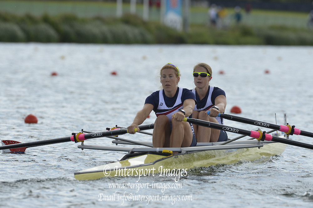 Eton Dorney, Windsor, Great Britain,..2012 London Olympic Regatta, Dorney Lake. Eton Rowing Centre, Berkshire[ Rowing]...Description; USA W2X, Bow. Margot SHUMWAY and Sarah TROWBRIDGE move away from the start pontoon in their heat of the Women's Double Scull.  Dorney Lake. 10:30:07  Monday  30/07/2012 [Mandatory Credit: Peter Spurrier/Intersport Images]  .