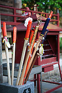 Walking sticks used for the Shikoku Pilgrimage, 88 temples associated with the Buddhist monk Kukai (Kobo Daishi) on the island of Shikoku, Tokushima Prefecture, Japan