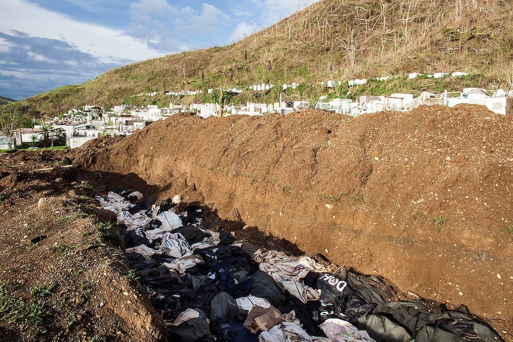 A mass grave outside of Tacloban City filled with bodies of victims of Typhoon Haiyan.