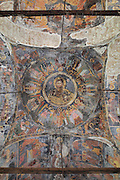 Ceiling fresco of Christ surrounded by saints and angels in the cupola of the Dormition of Saint Mary Cathedral Church, or Kisha Katedrale Fjetja e Shen Marise, built 1699, Voskopoje, Korce, Albania. The church contains frescoes by Theodor Anagnost and Sterian from Agrapha in Greece, and the large icons in the iconostasis were painted 1703 by Constantine Lemoronachos. Picture by Manuel Cohen