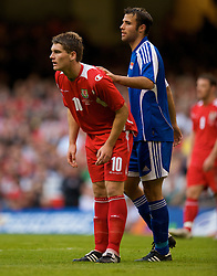 CARDIFF, WALES - Saturday, October 11, 2008: Wales' Sam Vokes during the 2010 FIFA World Cup South Africa Qualifying Group 4 match against Liechtenstein at the Millennium Stadium. (Photo by David Rawcliffe/Propaganda)