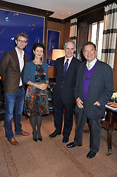Left to right, ARLO BRADY, MELANIE CLORE, CHARLES CLOVER and VISCOUNT BLAKENHAM at a lunch to announce the partnership between Creme de la Mer and BLUE Marine Foundation held at Sotheby's 34-35 New Bond Street, London on 18th May 2012.