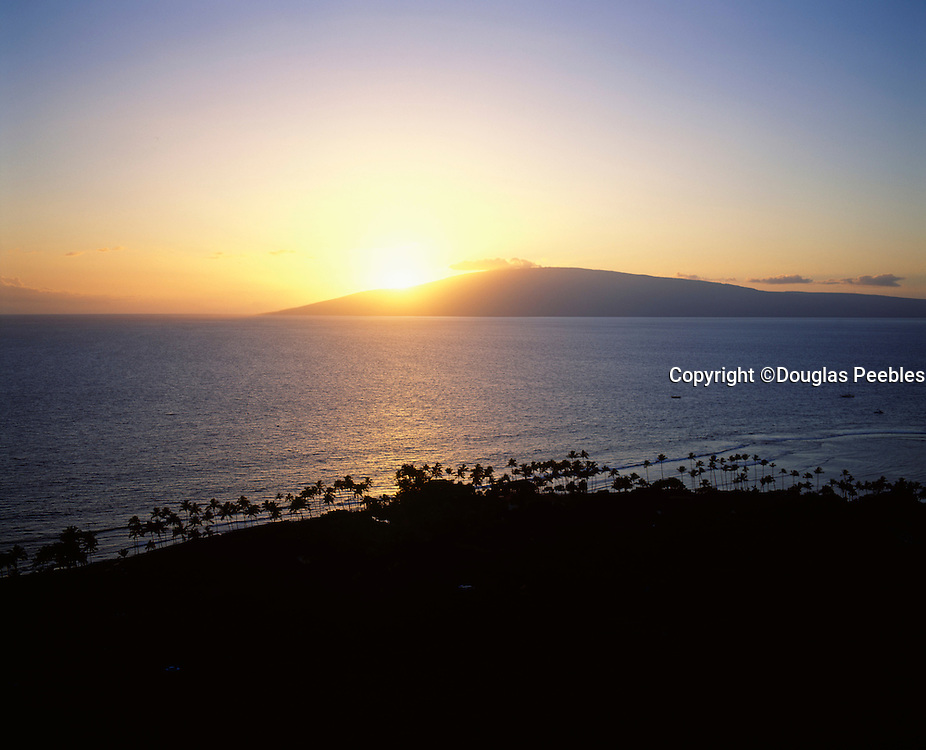 Sunset behind Lanai from Lahaina Maui, Hawaii