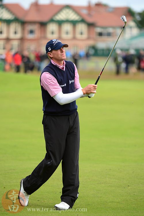 July 18, 2012; St. Annes, ENGLAND; Steve Stricker hits a fairway shot on the 2nd hole during the practice round of the 2012 British Open Championship at Royal Lytham & St. Annes Golf Club.