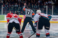 KELOWNA, CANADA - APRIL 19: Referee, Matt Kirk, stands at centre ice on April 18, 2014 during Game 2 of the third round of WHL Playoffs at Prospera Place in Kelowna, British Columbia, Canada.   (Photo by Marissa Baecker/Shoot the Breeze)  *** Local Caption *** Matt Kirk;