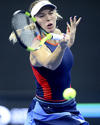 Oct. 1, 2018 - Beijing, China - CAROLINE WOZNIACKI of Denmark hits a return during the women's singles first round match against Belinda Bencic of Switzerland at China Open tennis tournament in Beijing, China. Wozniacki won 2:0. (Credit Image: © Song Yanhua/Xinhua via ZUMA Wire)