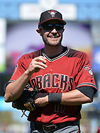 SURPRISE, AZ - MARCH 06:  A.J. Pollock #11 of the Arizona Diamondbacks smiles while warming up prior to the spring training game against the Kansas City Royals at Surprise Stadium on March 6, 2017 in Surprise, Arizona.  (Photo by Jennifer Stewart/Getty Images)