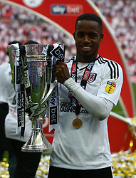 May 26, 2018 - London, England, United Kingdom - Fulham's Ryan Sessegnon with Trophy.during the Championship Play-Off Final match between Fulham and Aston Villa at Wembley, London, England on 26 May 2018. (Credit Image: © Kieran Galvin/NurPhoto via ZUMA Press)