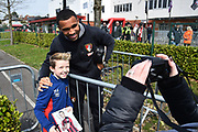 Callum Wilson (13) of AFC Bournemouth having a picture with a fan before the Premier League match between Bournemouth and Crystal Palace at the Vitality Stadium, Bournemouth, England on 7 April 2018. Picture by Graham Hunt.