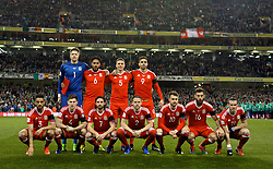 DUBLIN, REPUBLIC OF IRELAND - Friday, March 24, 2017: Wales' players line up for a team group photograph before the 2018 FIFA World Cup Qualifying Group D match against Republic of Ireland at the Aviva Stadium. Back row L-R:  goalkeeper Wayne Hennessey, captain Ashley Williams, James Chester, Hal Robson-Kanu. Front row L-R: Neil Taylor, Ben Davies, Joe Allen, Chris Gunter, Aaron Ramsey, Joe Ledley Gareth Bale. (Pic by David Rawcliffe/Propaganda)
