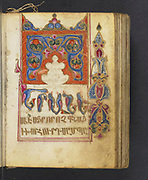 Armenia, Early 16th century. This manuscript is a liturgical psalter for the Armenian church. Canticles from the Old Testament follow each canon. The manuscript includes nine leaves with full-page illuminations of Biblical figures or scenes on one side and full-page illuminations of flowers on the other, and eight illuminated headpieces at the beginning of the canons of the the Psalter.