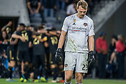 Houston Dynamo Joe Willis (23) shows disappointment after a LAFC goal during a MLS soccer game, Saturday, Sept 25, 2019, in Los Angeles. LAFC wins 3-1. (Jon Endow/Image of Sport)