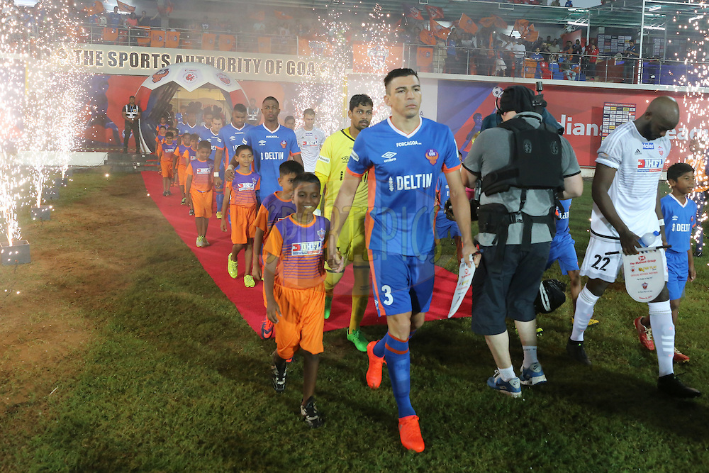 FC Goa players arrive during match 8 of the Indian Super League (ISL) season 3 between FC Goa and FC Pune City held at the Fatorda Stadium in Goa, India on the 8th October 2016.<br /> <br /> Photo by Faheem Hussain / ISL/ SPORTZPICS