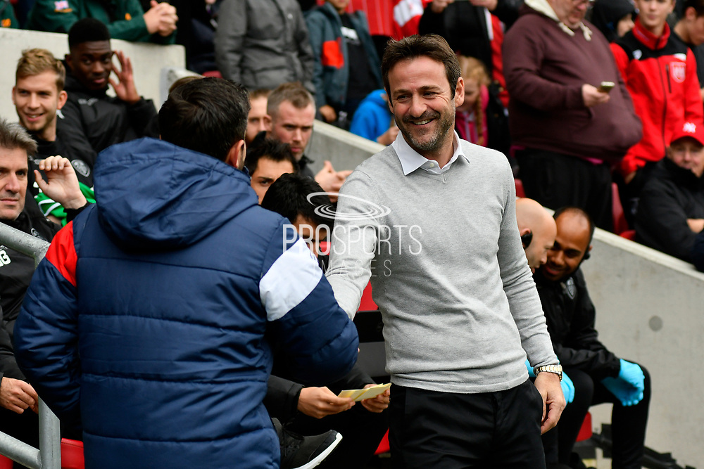 Leeds United manager Thomas Christiansen shakes hands with Bristol City manager Lee Johnson during the EFL Sky Bet Championship match between Bristol City and Leeds United at Ashton Gate, Bristol, England on 21 October 2017. Photo by Graham Hunt.
