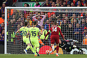 Barcelona goalkeeper Marc-Andre ter Stegen (1)  gets down to save the shot from Liverpool midfielder Jordan Henderson (14) - Liverpool forward Divock Origi will score with the reabound during the Champions League semi-final, leg 2 of 2 match between Liverpool and Barcelona at Anfield, Liverpool, England on 7 May 2019.