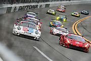 January 24-27, 2019. IMSA Weathertech Series ROLEX Daytona 24. Start of the 57th Daytona 24 #912 Porsche GT Team Porsche 911 RSR, GTLM: Mathieu Jaminet, Earl Bamber,  #62 Risi Competizione Ferrari 488 GTE, GTLM: Davide Rigon, Miguel Molina , Brumos throwback livery
