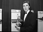 30th Texaco Sportstars of The Year.  (R71)..1988..13.01.1988..01.13.1988..13th January 1988..The Annual Texaco Sportstars awards were held in The Burlington Hotel this evening.The awards were presented by An Taoiseach, Charles Haughey TD..The list of award winners was:.Athletics.           Frank O'Meara..Cycling.             Stephen Roche..Equestrian.        Comdt gerry Mullins..Gaelic football.  Brian Stafford..Golf.                  Eamon Darcy..Horse racing.     Pat Eddery..Hurling.             Joe Cooney..Rugby.               Hugo McNeill..Snooker.            Denis Taylor..Soccer.               Liam Brady..Hall of Fame.      Danny Blanchflower.  (Soccer)...Image shows Frank O'Meara proudly displaying his award at the ceremony in the Burlington Hotel.