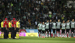 October 22, 2017 - Lisbon, Portugal - Referees team concede a minute of silence, in the presence of the portuguese Firefighters, in honor of the victims of the fires that devastated several regions of Portugal, during the Portuguese League  football match between Sporting CP and Chaves at Jose Alvalade  Stadium in Lisbon on October 22, 2017. (Credit Image: © Carlos Costa/NurPhoto via ZUMA Press)