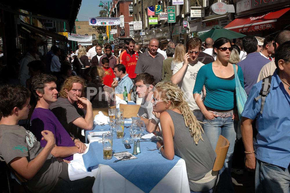 Eating al fresco at the Brick Lane Festival