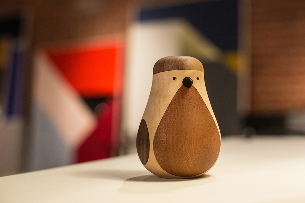 An elegant wooden bird designed by Lars Beller Fjetland in the Norwegian area. Wanted Design draws international exhibitors, including several natioanlly-sponsored exhiibits.