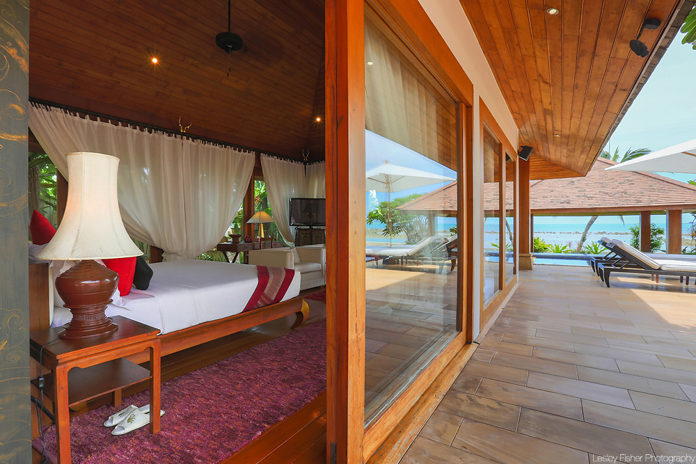 Master bedroom terrace at Wanora, a private, luxury 6 bedroom beach from villa located in Laem Sor, Koh Samui, Thailand