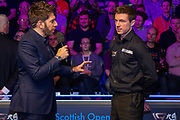 Andy Goldstein talks to the runner up Jack Lisowski at the World Snooker 19.com Scottish Open Final Mark Selby vs Jack Lisowski at the Emirates Arena, Glasgow, Scotland on 15 December 2019.