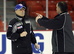 Head Coach Mats Waltin and coach Matjaz Kopitar  at practice of Slovenian national team before Hockey IIHF WC 2008 in Halifax,  on May 01, 2008 in Metro Center, Halifax, Canada.  (Photo by Vid Ponikvar / Sportal Images)