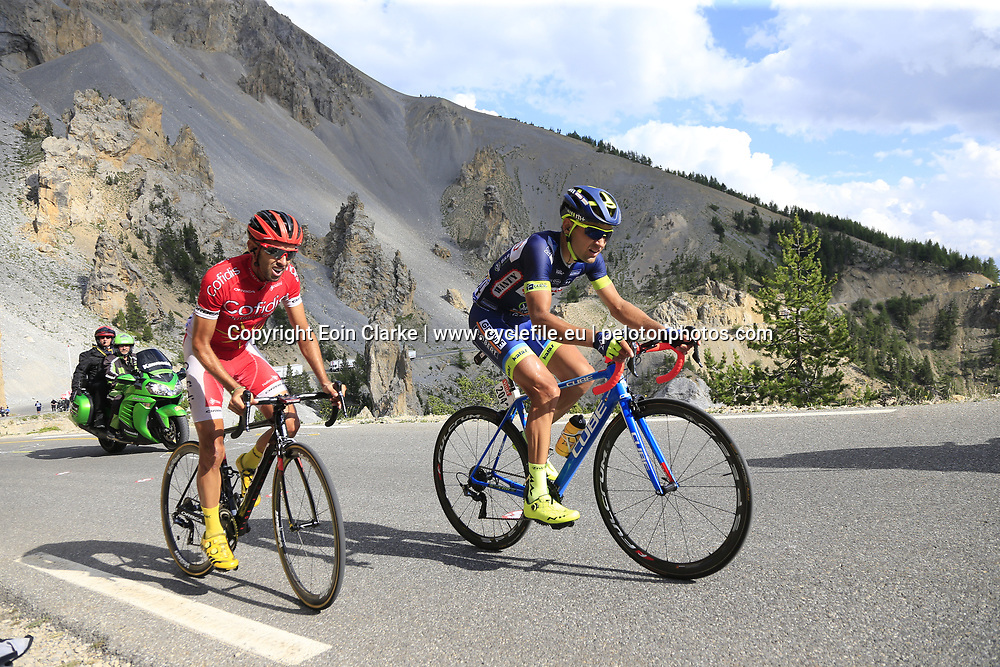 Marco Minnaard (NED) Wanty-Groupe Gobert and Daniel Navarro (ESP) Cofidis climb through the Caisse Deserte on Col d'Izoard during Stage 18 of the 104th edition of the Tour de France 2017, running 179.5km from Briancon to the summit of Col d'Izoard, France. 20th July 2017.<br /> Picture: Eoin Clarke | Cyclefile<br /> <br /> All photos usage must carry mandatory copyright credit (&copy; Cyclefile | Eoin Clarke)