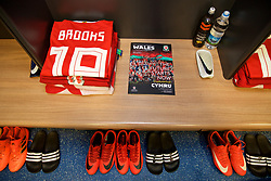 CARDIFF, WALES - Tuesday, November 14, 2017: The Wales shirt and boots of David Brooks in the dressing room ahead of the international friendly match between Wales and Panama at the Cardiff City Stadium. (Pic by David Rawcliffe/Propaganda)